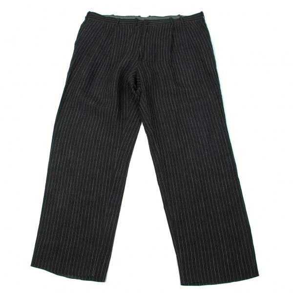 パパスPapas 麻ストライプ2タックパンツ 黒白58(3X)【中古】 【メンズ】