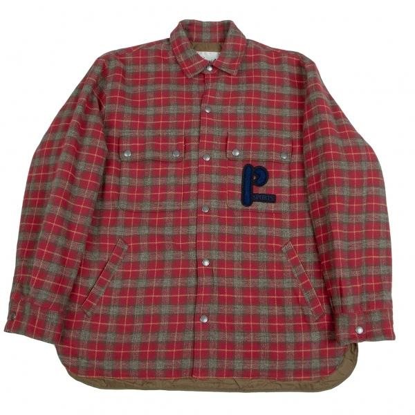 パパスプラスPapas+ 起毛コットン中綿チェックシャツジャケット 赤カーキ他LL【中古】 【メンズ】