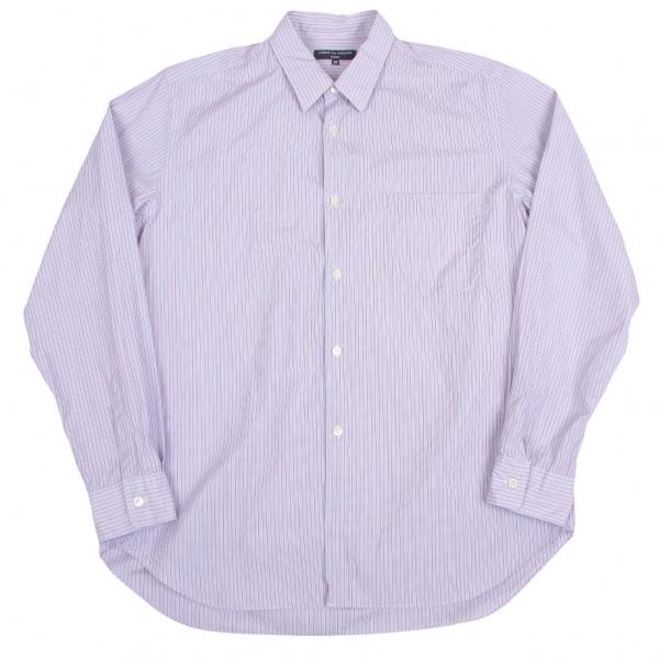 コムデギャルソン オムCOMME des GARCONS HOMME ストライプコットンシャツ ブルー白エンジM【中古】 【メンズ】