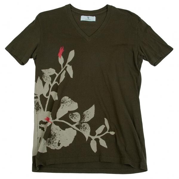 ワイズフォーメンY's for men コットン製品染めフラワープリント半袖Tシャツ カーキ他3【中古】 【メンズ】