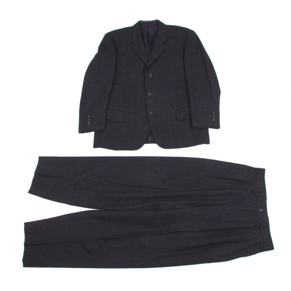 ワイズフォーメンY's for men ミックスウール厚手セットアップスーツ 紺グレーS【中古】