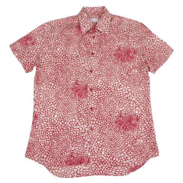 プラダPRADA プリントシルクシャツ 赤白40【中古】 【メンズ】