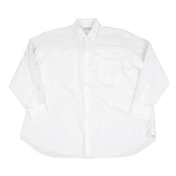 コムデギャルソン オムCOMME des GARCONS HOMME ストライプ切替コットンシャツ 白M位【中古】 【メンズ】