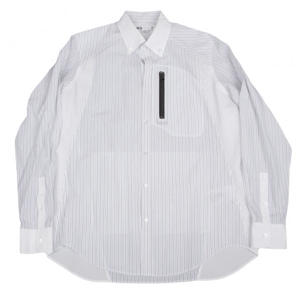 ワイスリーY-3 止水ジップポケットストライプボタンダウンシャツ 白黒L【中古】 【メンズ】