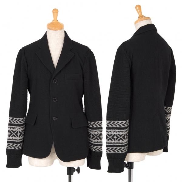 ブラックコムデギャルソンBLACK COMME des GARCONS 袖ニット切替ウールジャケット 黒グレーXS【中古】