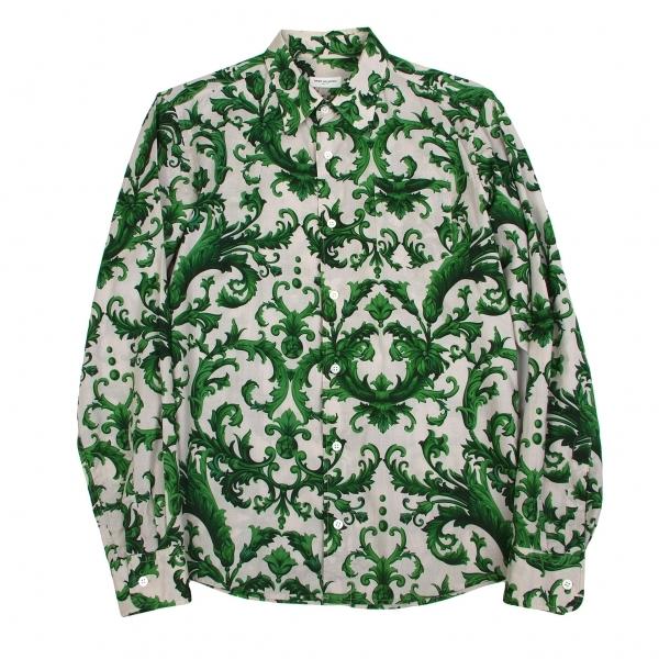 ドリスヴァンノッテンDRIES VAN NOTEN コットンバロック柄シャツ 緑グレー46【中古】 【メンズ】