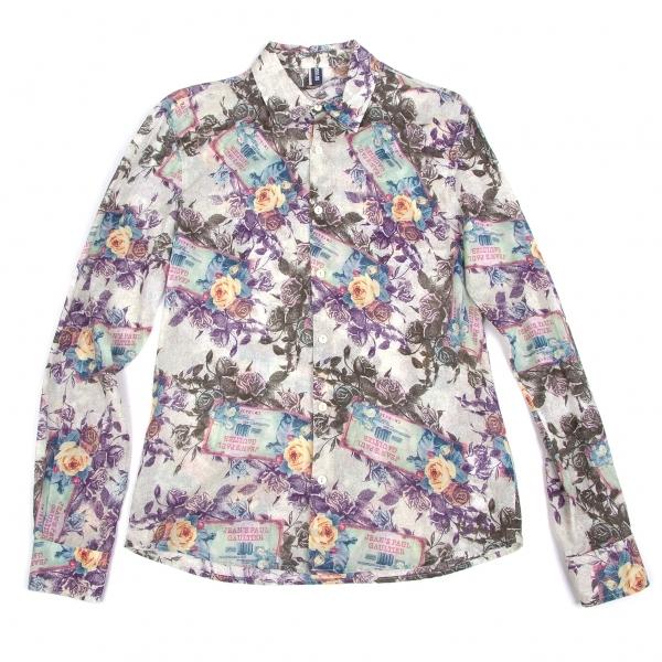 ジーンズポールゴルチエ Jean's Paul GAULTIER コットンローズプリントシャツ グレー紫青他M【中古】