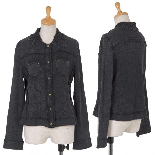 センソユニコSENSOUNICO io comme io フラワー装飾デザインニットジャケット グレー38【中古】
