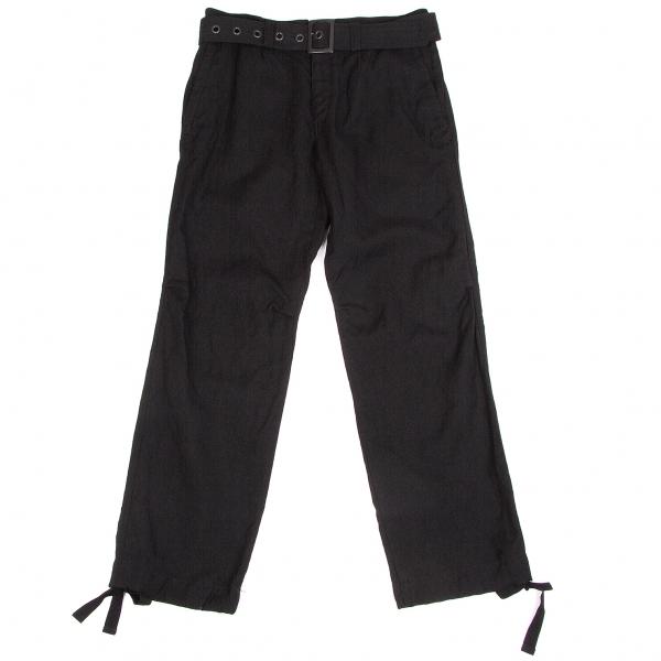 ワイズフォーメンY's for men ウールリネン共布ベルト付きパンツ 黒3【中古】 【メンズ】