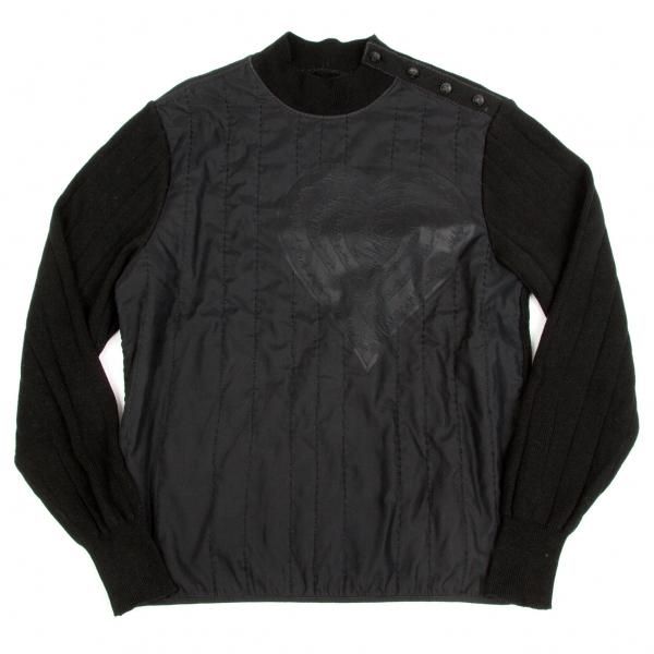 ジャンポールゴルチエ Jean-Paul GAULTIER 型押しステッチ切り替えニットセーター 黒M位【中古】