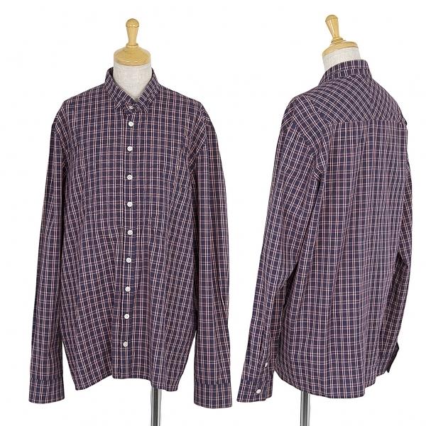 ヘンリックヴィブスコフHENRIK VIBSKOV フロントデザインコットンチェックシャツ 紺白S【中古】