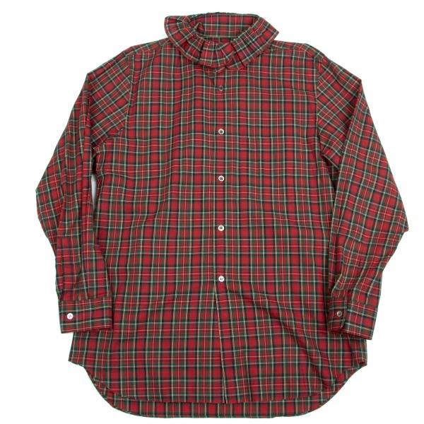 コムデギャルソン オムプリュスCOMME des GARCONS HOMME PLUS フリルカラータータンチェックシャツ 赤青他M位【中古】 【メンズ】