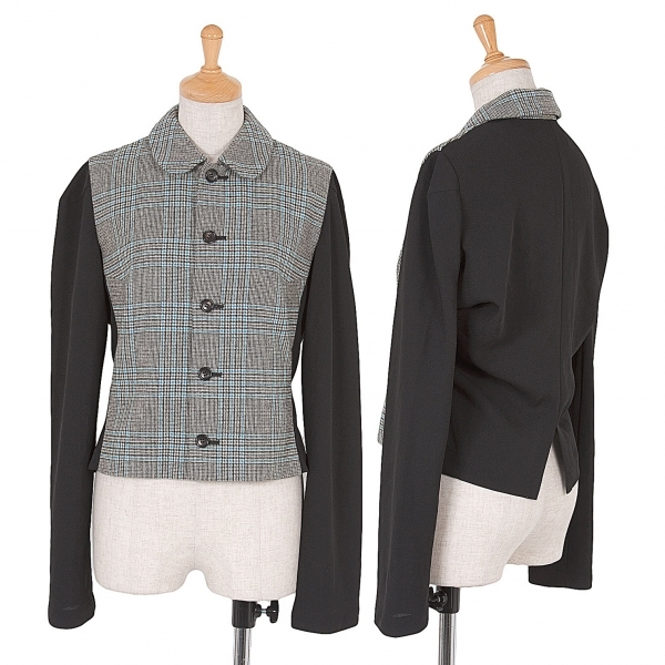 トリコ コムデギャルソンtricot COMME des GARCONS チェック切替デザインジャケット 黒グレーS位【中古】