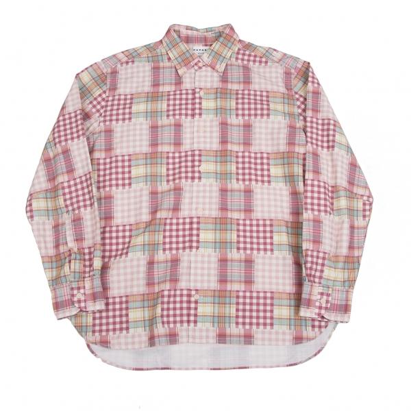 パパスプラスPapas+ ミックスチェックプリントコットンシャツ 濃淡ピンク他LL【中古】