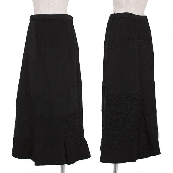 トリコ コムデギャルソンtricot COMME des GARCONS ウール製品染めパッチワークデザインスカート 黒M【中古】 【レディース】