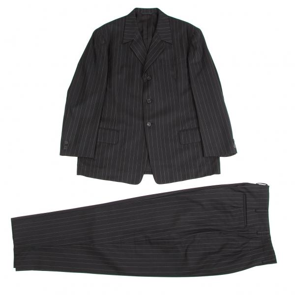 ワイズフォーメンY's for men ウールコットンストライプセットアップスーツ 黒白M【中古】