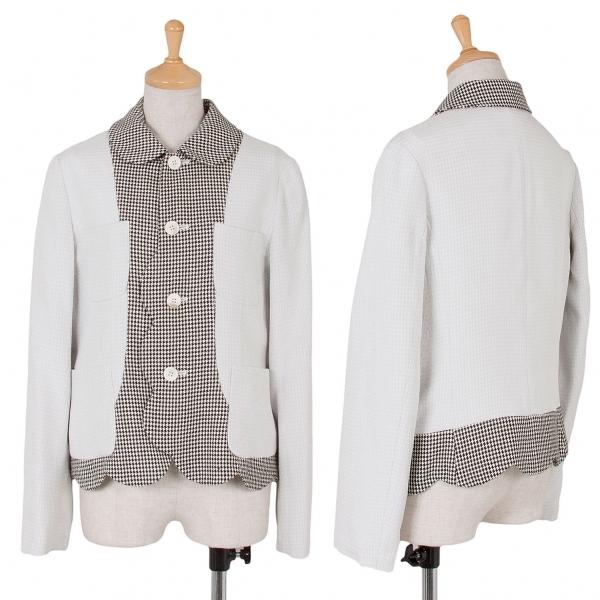 コムコム コムデギャルソンCOMME des GARCONS 千鳥格子リバースデザインジャケット 白黒オフS【中古】