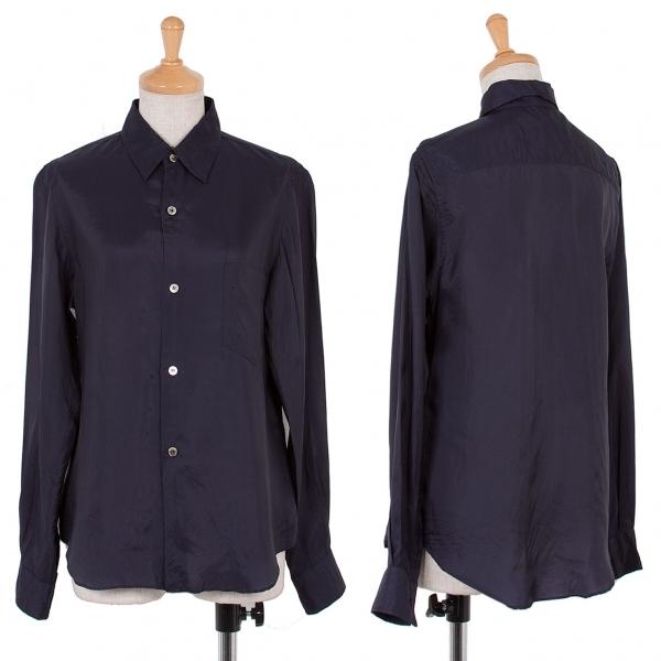 【SALE】コムデギャルソンCOMME des GARCONS キュプラベーシックシャツ 紺S【中古】 【レディース】
