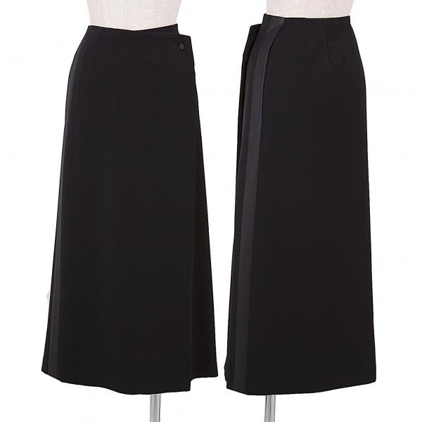 イッセイミヤケISSEY MIYAKE サイドラインプリントラップスカート 黒2【中古】 【レディース】