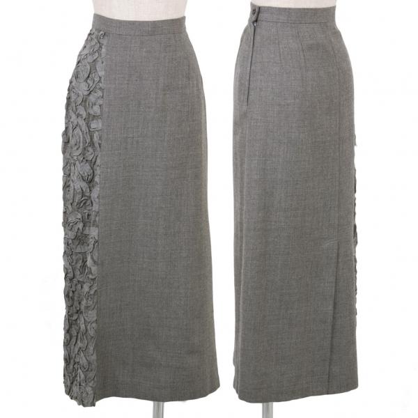 トリココムデギャルソンtricot COMME des GARCONS ウールサイドテープ装飾スカート グレーM【中古】