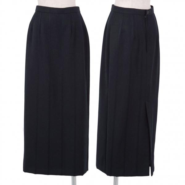 コムデギャルソンCOMME des GARCONS ウールギャバストライプスカート 紺M【中古】