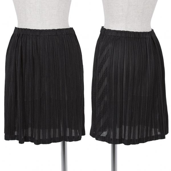 プリーツプリーズPLEATS PLEASE 柄織りショートスカート 黒M位【中古】 【レディース】