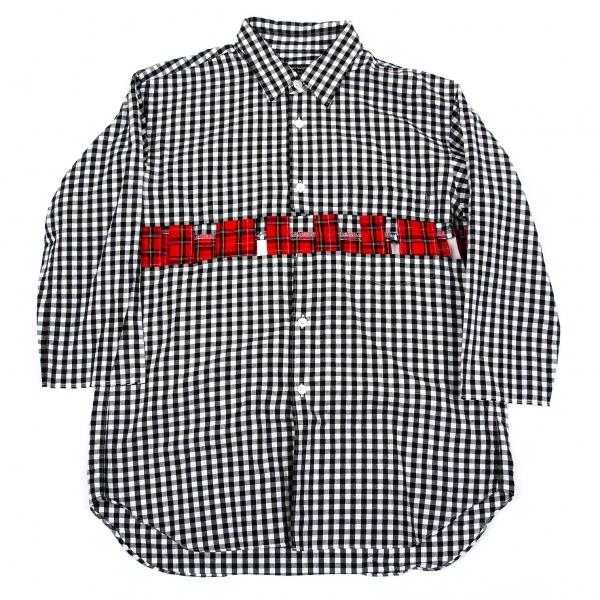 【SALE】コムデギャルソン オムプリュスCOMME des GARCONS HOMME PLUS カッティングチェックシャツ 白黒赤XS【中古】 【メンズ】