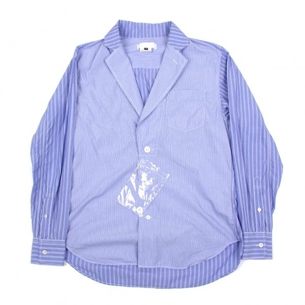ガンリュウGANRYU ストライプシャツジャケット 青S【中古】 【メンズ】