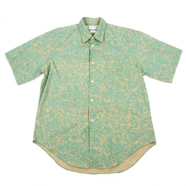 コムデギャルソンシャツCOMME des GARCONS SHIRT プリントコットンシャツ 黄緑ベージュS【中古】