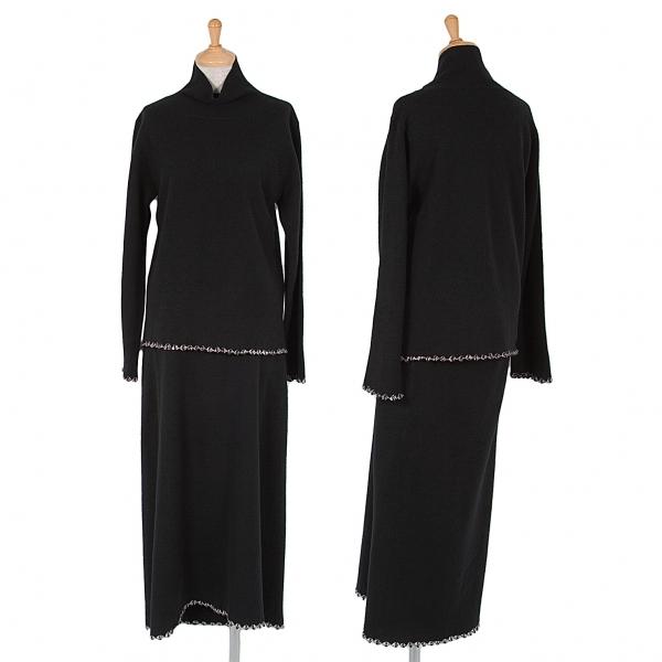 ヨーガンレールJURGEN LEHL 裾編み替えデザインセットアップスーツ 黒M【中古】