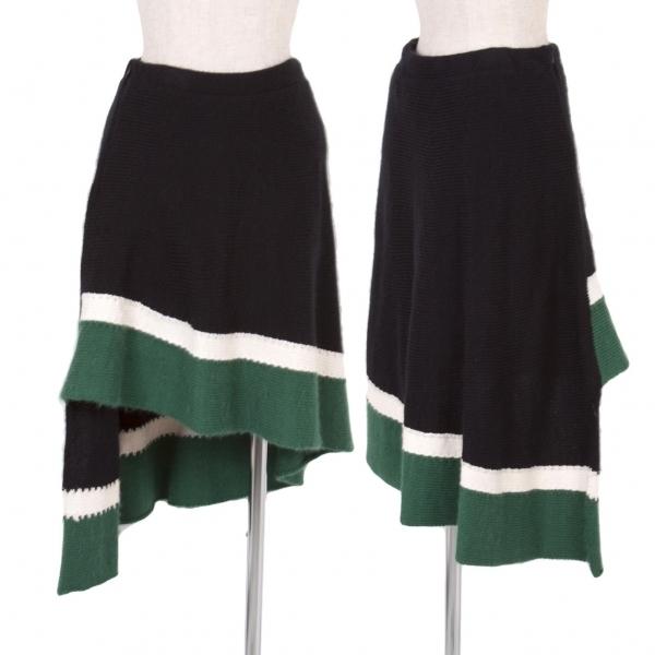 【SALE】ミハラヤスヒロMIHARA YASUHIRO ニット裾切替スカート 黒白緑S【中古】 【レディース】