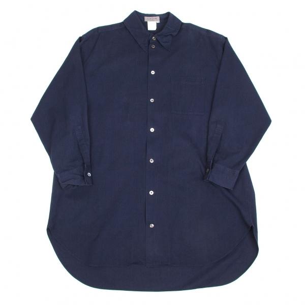 ヨウジヤマモト プールオムYohji Yamamoto POUR HOMME タック衿デザインコットンロングシャツ 紺M【中古】 【メンズ】