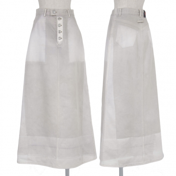 ゴルチエジーンズGAULTIER JEAN'S ペイントデザインデニムスカート グレー白40【中古】 【レディース】