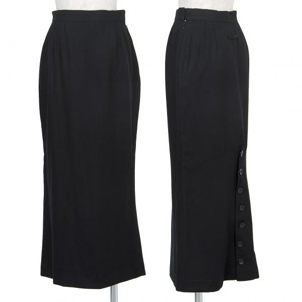 ジャンポールゴルチエファムJean Paul GAULTIER FEMME ウールバックボタンスリットスカート 黒40【中古】