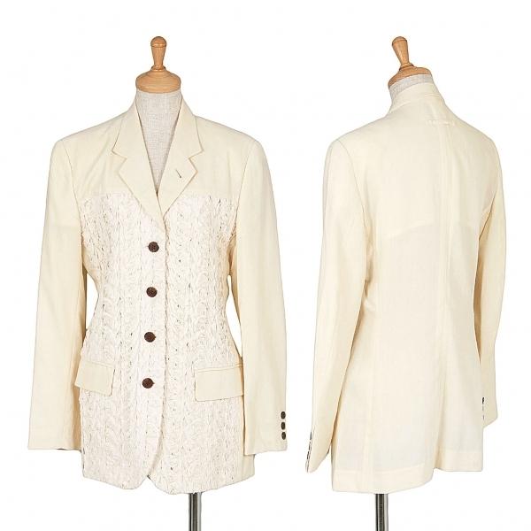 ジャンポールゴルチエファムJean Paul GAULTIER FEMME フロント装飾ウールジャケット 生成り40【中古】