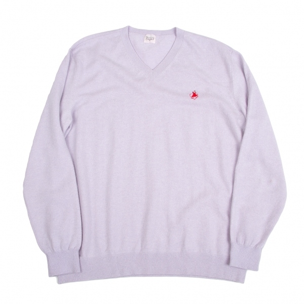 パパスPapas ワンポイント刺繍ニットセーター 淡紫50L【中古】