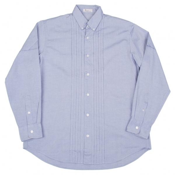 パパスPapas フロントプリーツコットンシャツ ブルー48(M)【中古】