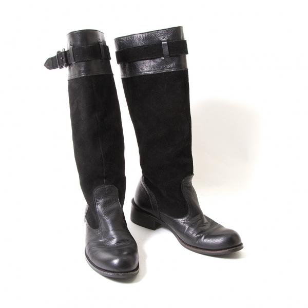 【SALE】ワイズY's スウェード切替レザーブーツ 黒4(24位)【中古】 【レディース】