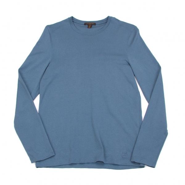 ルイヴィトンLouis Vuitton ロゴ刺繍コットンカットソー ブルーS【中古】