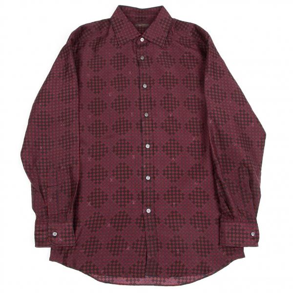 ルイヴィトンLouis Vuitton シルクコットンハーレークインチェックシャツ ボルドー黒40【中古】 【メンズ】