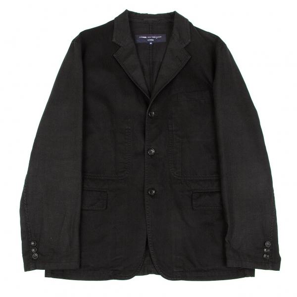 コムデギャルソンオムCOMME des GARCONS HOMME 製品染めリネンコットン切り替えジャケット 黒M【中古】 【メンズ】