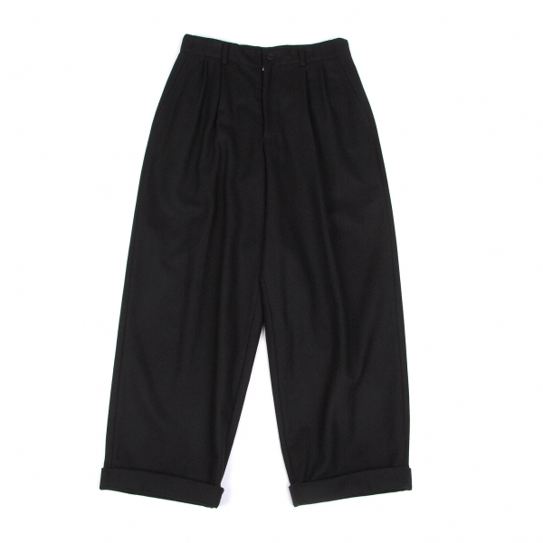 ワイズY's ウール裾ダブルワイドパンツ 黒M位【中古】 【レディース】