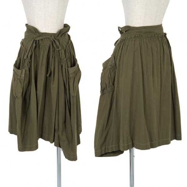 トリココムデギャルソンtricot COMME des GARCONS ギャザー縫い込みデザインスカート カーキS【中古】