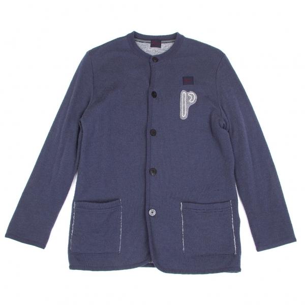 【SALE】パパスPapas 裏パイルワッペンカーディガン ブルー杢グレー46(S)【中古】 【メンズ】