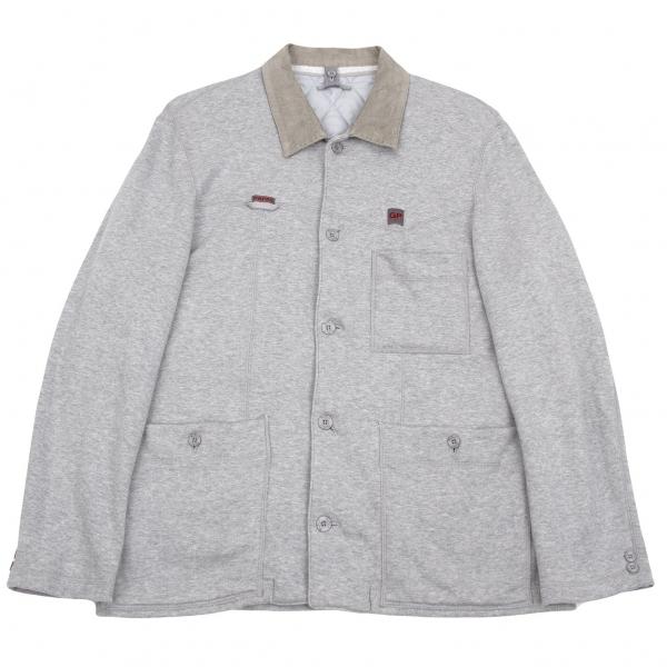 パパスPapas 襟コーデュロイスウェット中綿ライナーカバーオールジャケット 杢グレー48(M)【中古】 【メンズ】