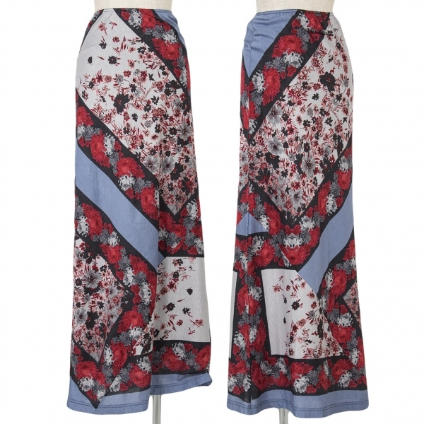 ジャンポールゴルチエファムJean Paul GAULTIER FEMME フラワープリントスカート 黒赤紫40【中古】 【レディース】
