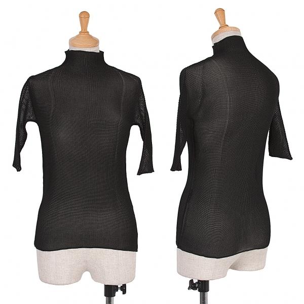 イッセイミヤケISSEY MIYAKE ボックスプリーツ五分袖Tシャツ 黒M位【中古】