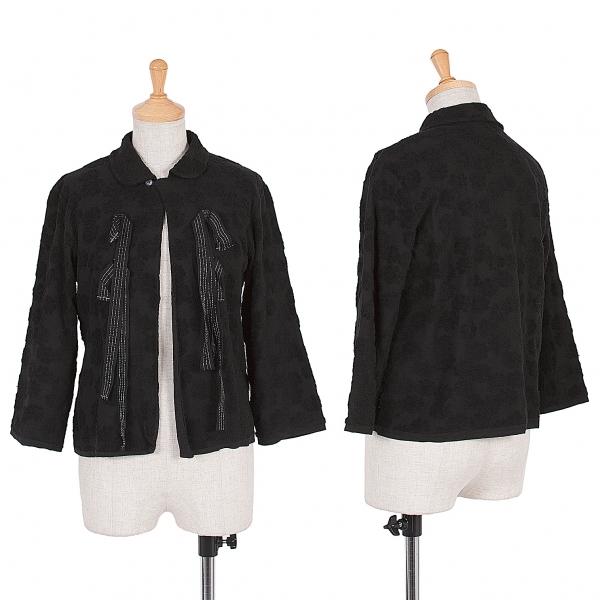 トリココムデギャルソンtricot COMME des GARCONS コットンジャガードリボンシャツ 黒シルバーM位【中古】