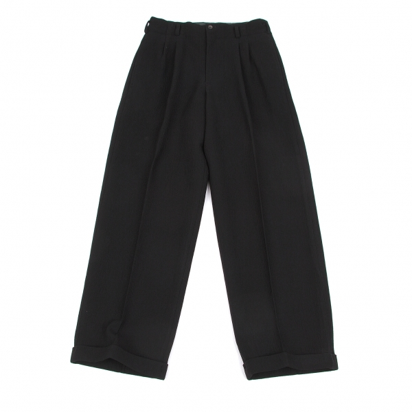 ワイズY's ウールクレープドビー裾ダブルパンツ 黒M位【中古】 【レディース】