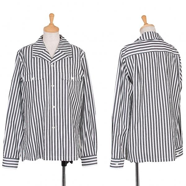 コムコム コムデギャルソンCOMME des GARCONS ストライプシャツジャケット 白グレーM【中古】